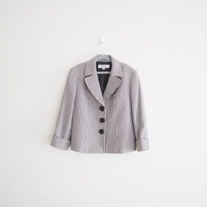 Tahari Houndstooth Career-wear Blazer Brown